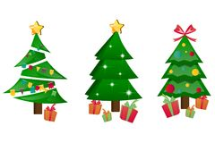 Different Christmas tree set isolated. Vector illustration Stock Images