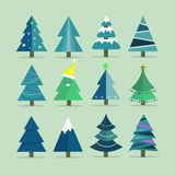 Different Christmas tree set, vector illustration. Can be used for greeting card, invitation, banner, web design Royalty Free Stock Images
