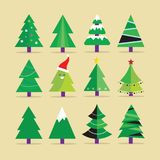 Different Christmas tree set, vector illustration. Can be used for greeting card, invitation, banner, web design Royalty Free Stock Photography