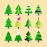 Different Christmas tree set, vector illustration. Can be used for greeting card, invitation, banner, web design Stock Images