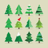 Different Christmas tree set, vector illustration. Can be used for greeting card, invitation, banner, web design Stock Photo