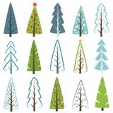 Different Christmas tree set, vector illustration. Can be used for greeting card, invitation, banner, web design. Stock Photos
