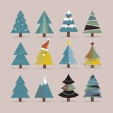 Different Christmas tree set, vector illustration. Can be used for greeting card, invitation, banner, web design Royalty Free Stock Photos