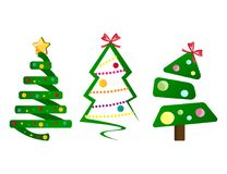 Different Christmas tree set. Vector illustration flat design Stock Photo