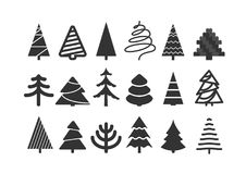Different christmas tree silhouettes. Isolated on white. Xmas tree set Stock Photography