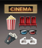 Different cinema stuff. Vector different movie theater stuff red armchairs, 3d glasses, tickets, bucket of popcorn, illuminated cinema signboard top, side view Stock Image