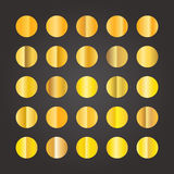 Different circle golden gradients set Stock Photos