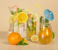 Different citrus drinks Stock Photography