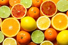 Different citrus fruits on color background stock photos