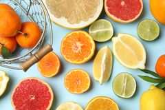 Different citrus fruits on color background. Top view royalty free stock image