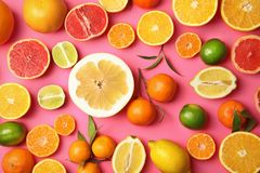 Different citrus fruits on color background. Top view stock photography