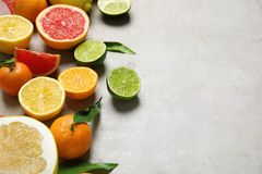 Different citrus fruits on grey background. Space for text royalty free stock photo