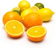 Different citrus fruits over the white background Stock Images
