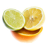 Different citrus fruits over the white background Stock Photo
