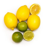 Different citrus fruits over the white background Royalty Free Stock Photography