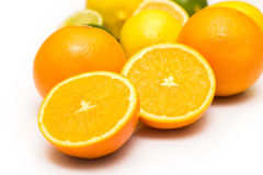 Different citrus fruits over the white background Royalty Free Stock Image