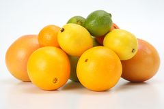 Different citrus fruits on white background. The different citrus fruits on white background royalty free stock photography