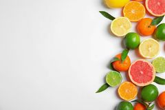 Different citrus fruits on white background, top view. Space for text royalty free stock images