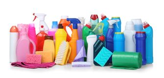 Different cleaning supplies. On white background royalty free stock photo