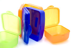 Different Click boxes of plastic. And on white background royalty free stock photo