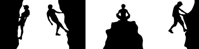 Different climber. Vector illustration silhouettes of different climber on white background vector illustration