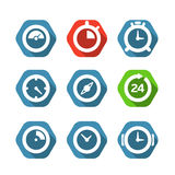 Different clock buttons collection Royalty Free Stock Photo