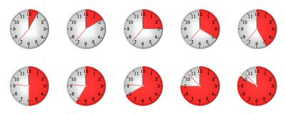 Different clock with different time Stock Photos