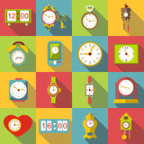 Different clocks icons set, flat style Royalty Free Stock Photography