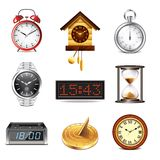 Different clocks icons vector set Stock Photos