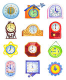 Different clocks isolated on white backdrop Stock Images