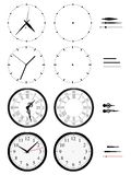 Different clocks of styles on white background stock illustration