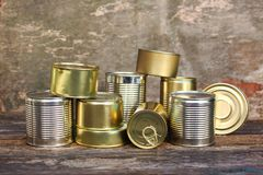 Different closed canned food royalty free stock image