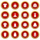 Different clothes icon red circle set Royalty Free Stock Photo