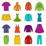Different clothes icons doodle set Stock Photo
