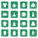 Different clothes icons set grunge Royalty Free Stock Photography