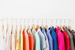 Different clothes on the rack Royalty Free Stock Image