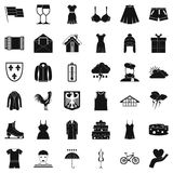 Different clothing icons set, simple style. Different clothing icons set. Simple style of 36 different clothing vector icons for web isolated on white background Stock Photos