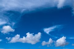 Different clouds. Diverse clouds formations against blue sky stock images