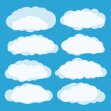 Different clouds vector set. On blue Royalty Free Stock Photo