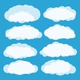 Different clouds vector set. On blue vector illustration