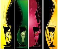 Different cocktails banners. Vertical banners with cocktail glasses and fruits Stock Photography