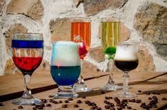 Different cocktails with different colors stock photography