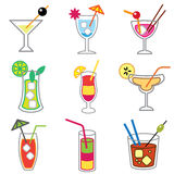 Different cocktails icons Royalty Free Stock Photo