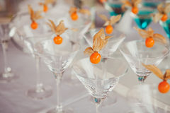 Different cocktails or longdrinks garnished. With fruits royalty free stock photo