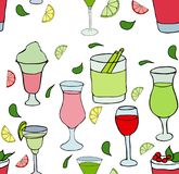 Different cocktails pattern on white background stock illustration
