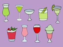 Different cocktails on purple background stock illustration