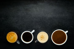 Different Coffee cups with Copy Space royalty free stock images