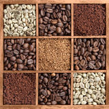 Different coffee forms in wooden box Stock Images