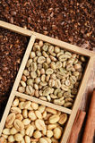 Different coffee forms in wooden box Stock Photography