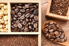 Different coffee forms in wooden box and coffee bean in wooden spoon Stock Photography
